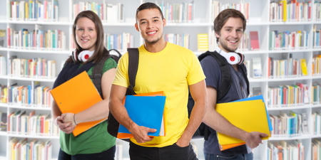 College students student young people studies library banner education smiling happy learning Stockfoto