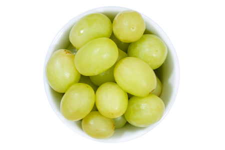 Grapes green fruits fruit from above bowl isolated on a white background