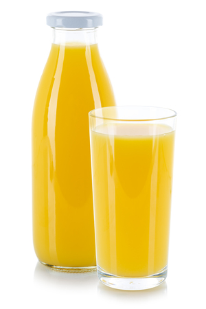 Orange juice drink glass and bottle isolated on a white background