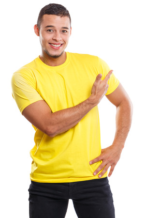 Young man showing pointing marketing ad advert people isolated on a white background