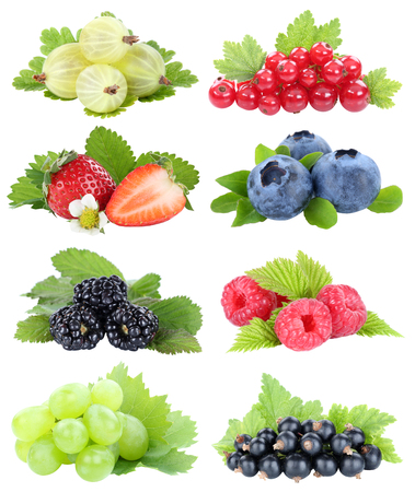 Berries collection strawberries blueberries grapes berry fruits fruit isolated on a white background Stockfoto