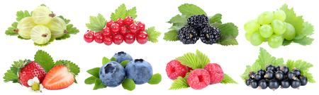 Collection of berries strawberries blueberries grapes fruits fruit isolated on a white background Stockfoto