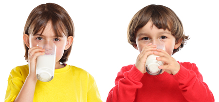 Children kids girl boy drinking milk healthy eating isolated on a white background