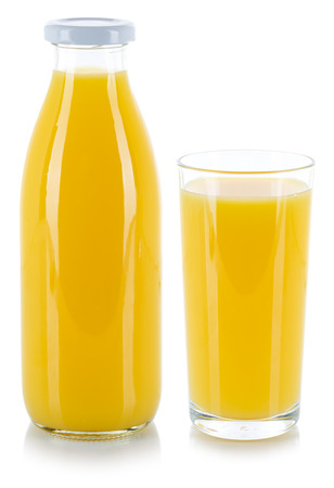 Orange juice drink in a bottle and glass isolated on a white background Stockfoto