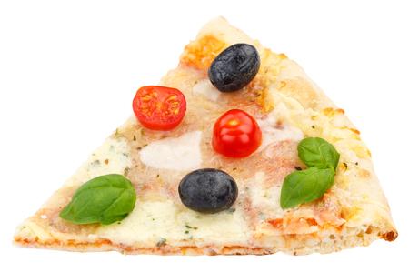Pizza margarita margherita slice isolated on a white background