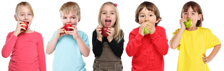 Group of kids children eating apple fruit autumn fall healthy isolated on a white background