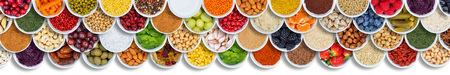 Fruits and vegetables food background spices ingredients berries banner from above fruit