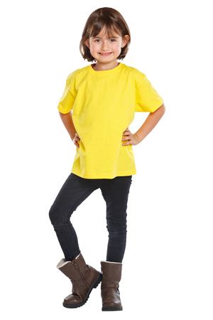 Child kid little girl full body portrait isolated on a white background