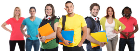 Group of students college student young people studies education smiling happy isolated on a white background