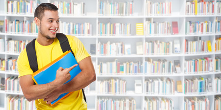 Student showing pointing marketing ad advert library learning banner copyspace copy space young man people learn