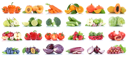 Fruits and vegetables collection isolated apple tomatoes orange pears lettuce colors fresh fruit on a white background