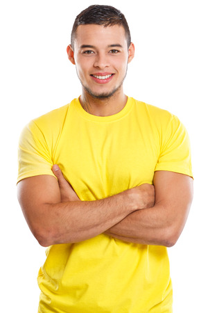 Young man upper body portrait smiling people isolated on a white background
