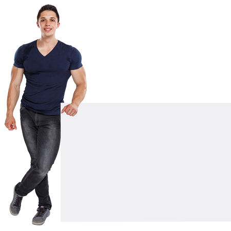 Muscular young man copyspace marketing ad advert empty blank sign isolated on a white background