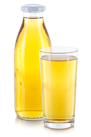 Apple juice drink bottle glass isolated on a white background