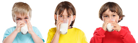 Children kids girl boy drinking milk healthy eating colorful isolated on a white background