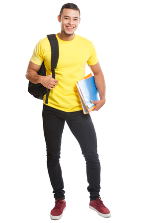 Student young man full body portrait smiling people isolated on a white background