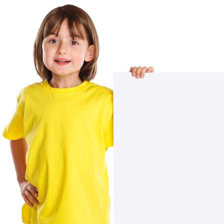 Child kid smiling young little girl copyspace marketing ad empty blank sign isolated on a white background Stockfoto