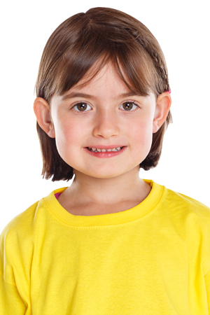 Child kid little girl portrait face isolated on a white background