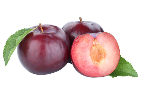 Plums plum blue fresh fruits fruit autumn fall isolated on a white background Stockfoto