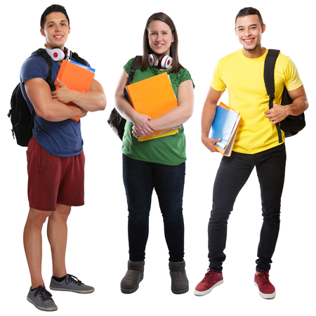 Students student group of young people full body portrait education isolated on a white background Stockfoto
