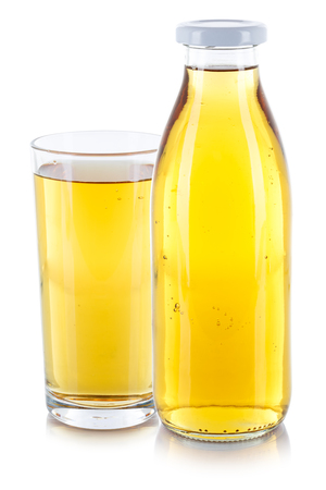 Apple juice drink fresh glass bottle isolated on a white background