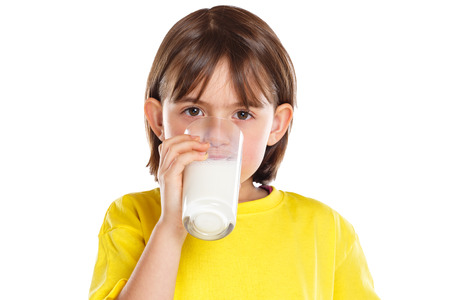 Child girl drinking milk kid glass healthy eating isolated on a white background