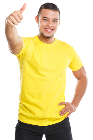 Young man success thumbs up successful smiling people isolated on a white background
