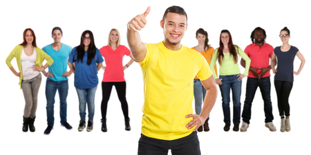 Group of friends success thumbs up successful young people isolated on a white background Stockfoto