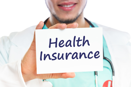 Doctor health insurance medical concept ill illness healthy with sign