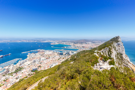 Gibraltar The Rock copyspace copy space landscape Mediterranean Sea travel town overview travelling