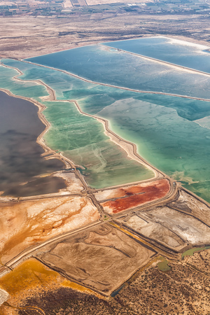 Dead Sea Israel landscape nature salt extraction portrait format from above aerial view Jordan vacation holidays