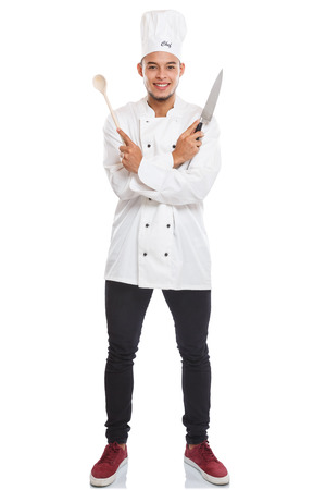 Cook cooking young man male job full body portrait isolated on a white background
