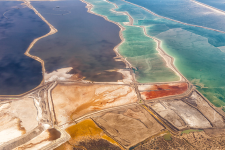 Dead Sea Israel landscape nature salt extraction from above aerial view Jordan vacation holidays Stockfoto