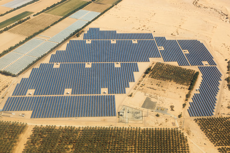 Solar panels farm energy panel Israel desert from above aerial view landscape Stok Fotoğraf - 123197792