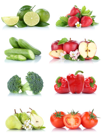 Fruits vegetables collection isolated apple apples tomatoes strawberries bell pepper colors fresh fruit on a white background
