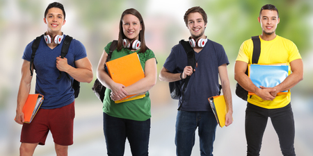 Group of students study education town banner young people city Stockfoto