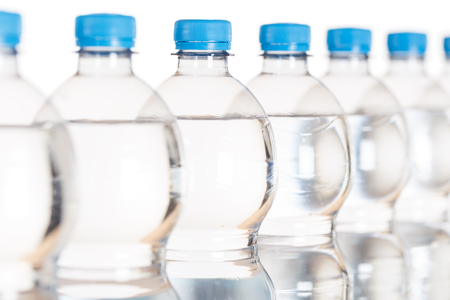 Mineral water bottle bottles isolated on a white background