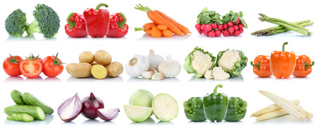 Vegetables tomatoes bell pepper cucumber carrots potatoes collection isolated on a white background