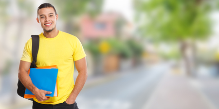 Student young man town banner copyspace copy space learning smiling people town