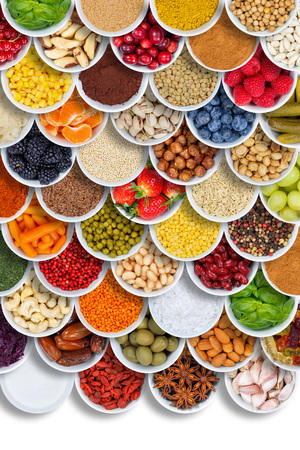 Fruits and vegetables food spices ingredients portrait format berries from above fruit Stockfoto