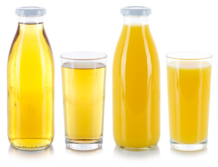 Orange and apple juice drink drinks in a bottle and glass isolated on a white background