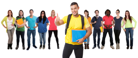 Group of students college student young people success successful education isolated on a white background