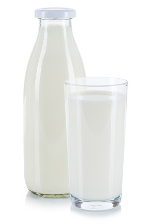 Fresh milk in a glass and bottle isolated on a white background