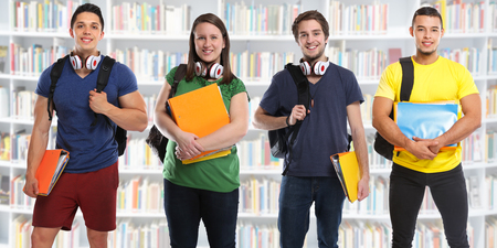 Group of students study education library banner young people city Stockfoto