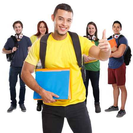 Group of students success successful thumbs up smiling square people isolated on a white background Stockfoto