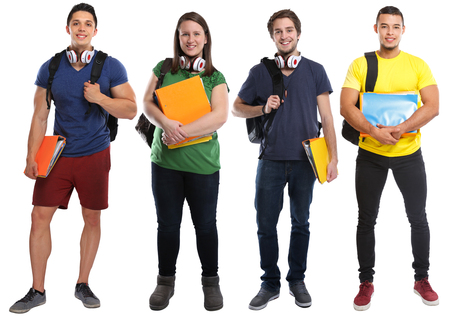 Group of students study education young people isolated on a white background