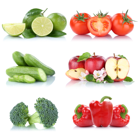 Fruits vegetables collection isolated apple apples tomatoes bell pepper colors fresh fruit on a white background