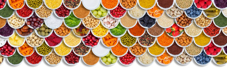 Fruits and vegetables food background herbs spices ingredients berries from above fruit Stockfoto