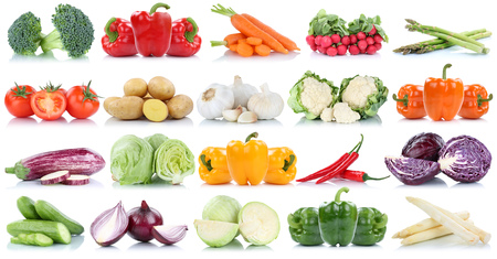 Vegetables tomatoes lettuce bell pepper cucumber carrots potatoes collection isolated on a white background