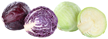 Red and white cabbage sliced fresh food vegetable isolated on a white background Stockfoto